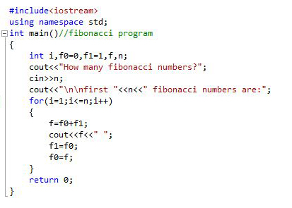 Write a program to generate fibonacci series in c++